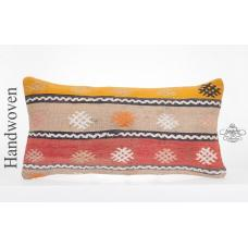 Shabby Retro Kilim Pillow Case 14x28 Embroidered Turkish Kelim Rug Cushion Cover