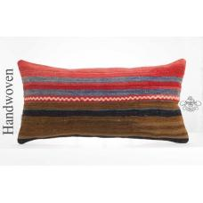 "Striped Vintage Pillow 14x28"" Long Lumbar Pillowcase Turkish Kilim Rug Cushion"