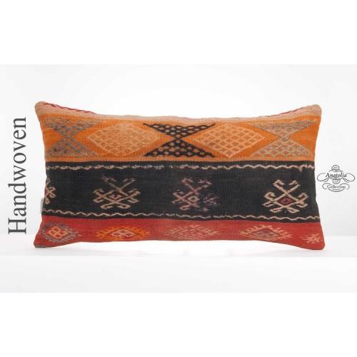 "Vintage Lumbar Kilim Pillowcase 14x28"" Turkish Kelim Pillow Ethnic Cushion Cover"