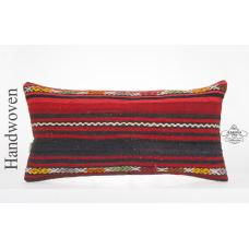 "Vintage Red Lumbar Kilim Cushion Cover 14x28"" Ethnic Turkish Striped Rug Pillow"