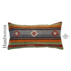 "Anatolian Cottage Pillowcase 14x28"" Lumbar Kilim Pillow Vintage Turkish Cushion"