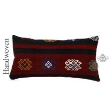 "Embroidered Kilim Pillow 14x28"" Ethnic Lumbar Turkish Kelim Cushion Cover"