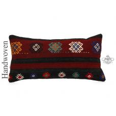 "Ethnic Embroidered Lumbar Kilim Pillow Long 14x28"" Sofa Bed Throw Cushion Cover"