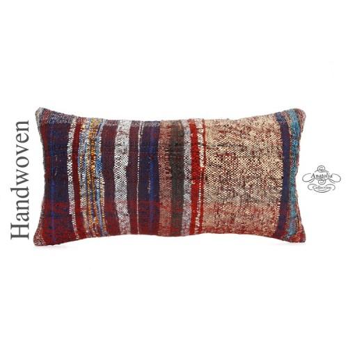 "Striped Chaput Kilim Pillow 14x28"" Lumbar Kelim Pillowcase Contemporary Cushion"