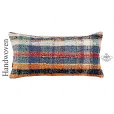 "Chapput Lumbar Kilim Throw Pillow Colorful 14x28"" Burlap Turkish Rug Cushion"