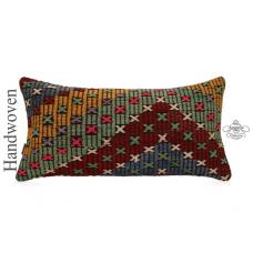 "Ethnic 14x28"" Lumbar Kilim Throw Pillow Embroidered Vintage Rug Cushion Cover"