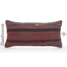 "Ethnic Lumbar Kilim Pillow Vintage 14x28"" Long Turkish Rug Cushion"