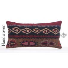 "Retro Anatolian Kilim Pillowcase 14x28"" Long Decorative Lumbar Cushion"