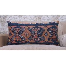 "Ancient Decorative Kilim Rug Pillow 14x28"" Anatolian Handmade Cushion"