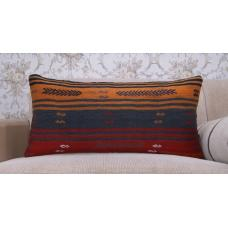 Colorful Striped Rug Cushion Interior Decor Accent Ethnic Kilim Pillow