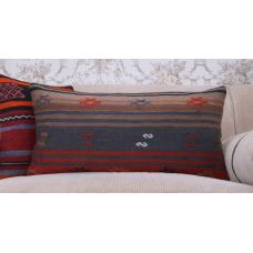 "Earthy Lumbar Kilim Pillow 14x28"" Embroidered Long Lumbar Sofa Throw"