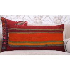 "Colorful Vintage Turkish Kilim Cushion 14x28"" Striped Lumbar Rug Pillow"