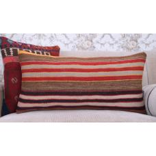 Contemporary Striped Kilim Cushion 14x28 Handmade Long Rug Throw Pillow