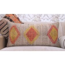 "Embroidered Gray Kilim Pillow 14x28"" Contemporary Lumbar Rug Cushion"