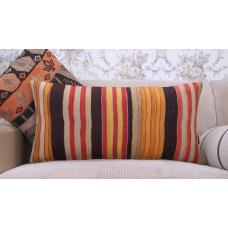 "Vintage Striped Long Lumbar Pillowcase 14x28"" Colorful Kilim Rug Pillow"