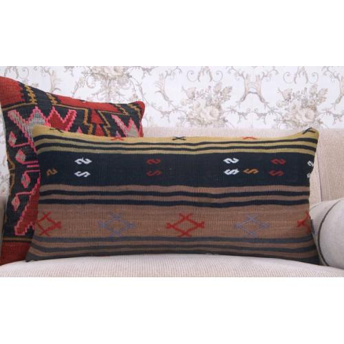 Black Striped Lumbar Kilim Cushion Muted Vintage Rectangle Rug Pillow