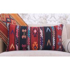 "Boho Chic Embroidered Pillow 14x28"" Colorful Retro Lumbar Kilim Cushion"