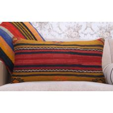 "Decorative Striped Bed Throw Pillow 14x28"" Vintage Lumbar Kilim Cushion"