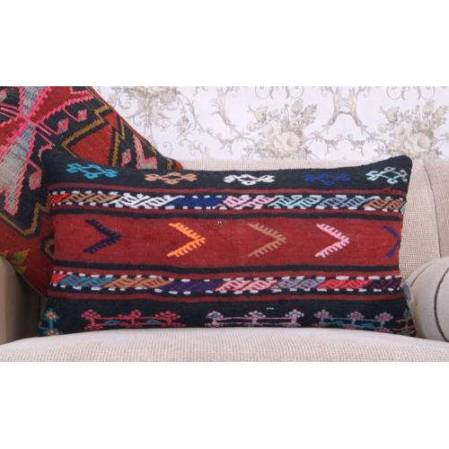 "Ethnic Tribal Sofa Decor Throw Rug Pillow 14x28"" Handmade Kilim Cushion"