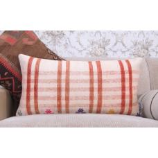 "Retro Cottage Decor Handmade Throw Pillow 14x28"" Striped Kilim Cushion"