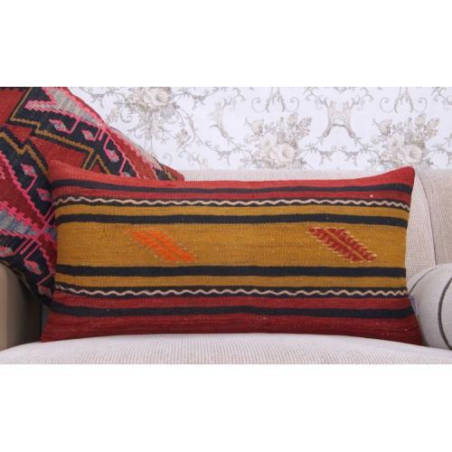 """Striped Tribal Lumbar Kilim Cushion 14x28"""" Long Sofa Bed Throw Pillow"""