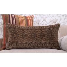 "Earthy Geometric Lumbar Rug Pillow 14x28"" Handmade Eclectic Decor Throw"