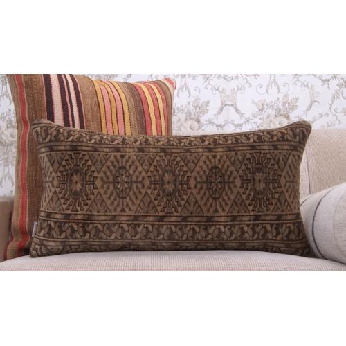 "Earthy Geometric Lumbar Rug Pillow 14x28"" Handmade Eclectic Decor Throw"