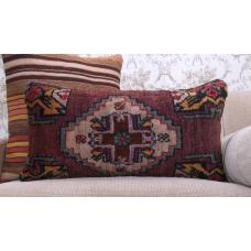 Oriental Hand Knotted Rug Cushion Anatolian Lumbar Sofa Throw Pillow