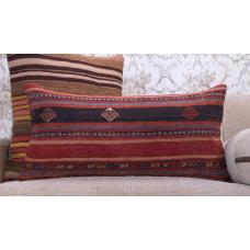 Vintage Anatolian Kilim Pillow 14x28 Embroidered Decorative Rug Cushion