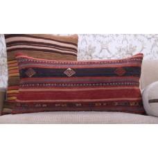 Vintage Anatolian Kilim Pillow 14x28 Embroidered Decorative Rug Cushion