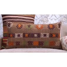 "Camel Wool Embroidered Kilim Pillow 14x28"" Brown Lumbar Rug Pillowcase"