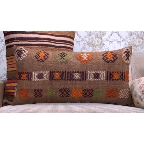 "Camel Wool Embroidered Kilim Pillow 14x28"" Brown Lumbar Rug Pillowcase"