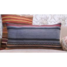 Old Shabby Lumbar Pillow Striped Blue Turkish Handmade Kilim Pillowcase