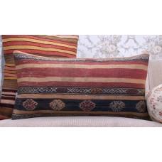 Shabby Old Kilim Throw Pillow 14x28 Vintage Striped Turkish Rug Cushion