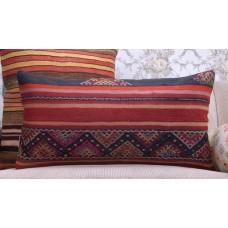 """Striped Kilim Pillowcase Anatolian 14x28"""" Vintage Turkish Rug Pillow"""