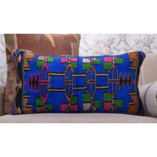 "Blue Handmade Rug Pillowcase 14x28"" Bohemian Lumbar Decor Throw Pillow"