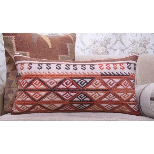"Colorful Lumbar Throw Pillow 14x28"" Embroidered Ethnic Kilim Pillowcase"