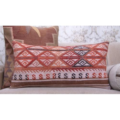 "Embroidered Lumbar Kilim Pillowcase 14x28"" Ethnic Decor Throw Pillow"