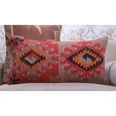 Oriental Lumbar Kilim Cushion Anatolian Colorful Sofa Throw Rug Pillow