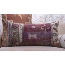 "Vintage Soft Aged Lumbar Rug Pillow 14x28"" Handmade Sofa Decor Throw"