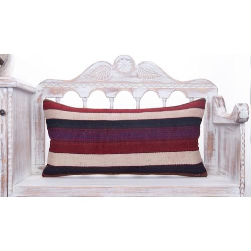 "Decorative Striped Lumbar Kilim Pillow Colorful Vintage 14x28"" Cushion"