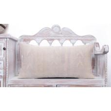 Embroidered White Lumbar Kilim Pillow 14x28 Handmade Vintage Sofa Throw