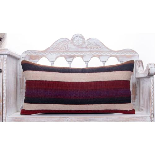 "Long Striped Lumbar Kilim Pillow 14x28"" Decorative Sofa Couch Throw"