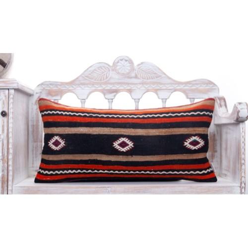 "Retro Anatolian Kilim Throw Pillow 14x28"" Striped Lumbar Rug Cushion"