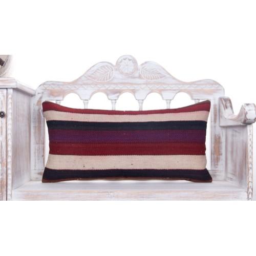 Rustic Sofa Decor Throw Pillow 14x28 Handmade Turkish Kilim Rug Cushion