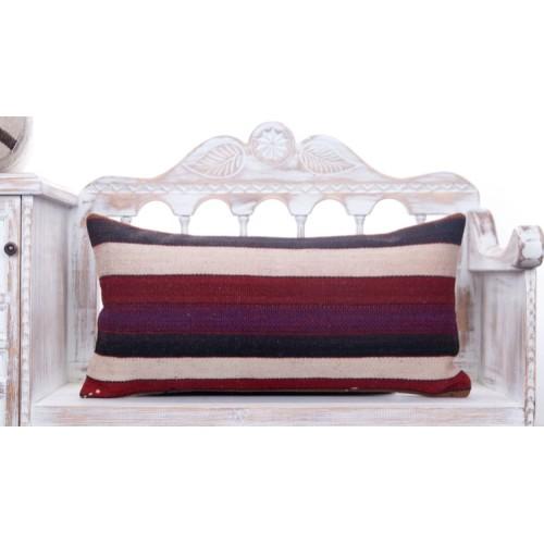 Striped Decorative Colorful Kilim Pillow 14x28 Vintage Turkish Cushion