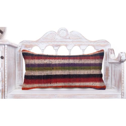 "Vintage Lumbar Kilim Pillow Colorful 14x28"" Striped Sofa Decor Throw"