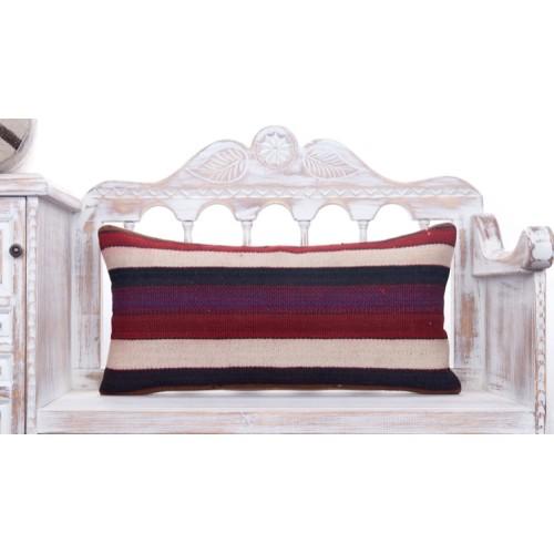 Vintage Striped Lumbar Kilim Pillow 14x28 Turkish Decorative Sofa Throw