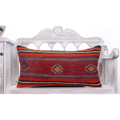 "Vintage Striped Lumbar Kilim Rug Pillow 14x28"" Embroidered Sofa Throw"