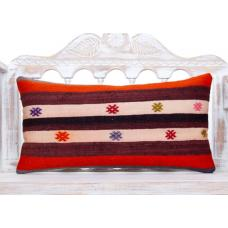Colorful Cottage Chic Pillow Embroidered 14x28 Vintage Kilim Pillowcase